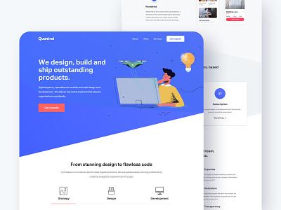 Quantral Homepage typogaphy digital icons header tabs web design agency clean illustration layout interface homepage blue landing design website ux ui