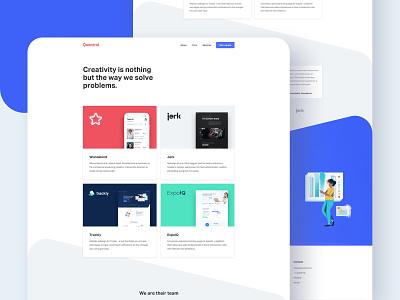 Quantral - Work Page white grid thumbnails interfaces digital web design case study agency work portfolio blue layout website minimal interface clean ux ui