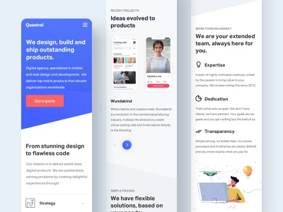 Quantral - Mobile Homepage interface white clean portfolio landing layout home agency homepage minimal website ux ui