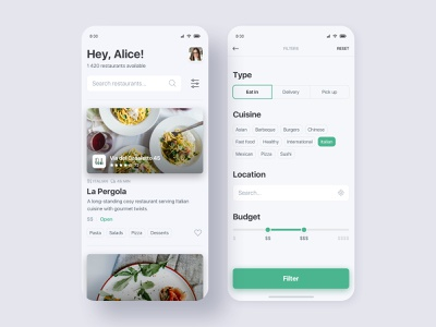 Restaurants App green minimal cards tags slider ios filters restaurant delivery food app mobile interface clean ux ui