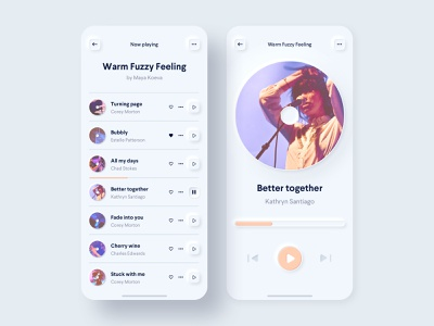 Music Player progress bar skeumorph soft ui record vinyl play button ios mobile playlist minimal soft skeumorphism player music app interface clean ux ui