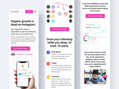 Coral Mobile web design homepage home chart analytics tool instagram proxy insights comparison mobile landing layout website minimal interface clean ux ui
