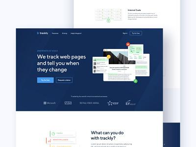 Trackly - Landing page webapp changelog changes blue header track web design homepage design landing layout website interface clean ux ui