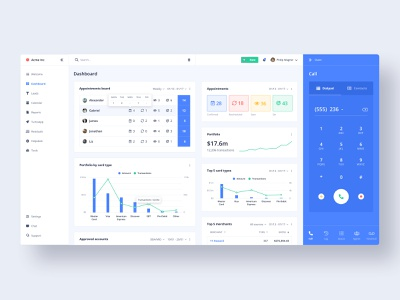 CRMD - Dashboard web webapplication bar chart double axis management b2b cards crm appointments board dialer chart graphic dashboard saas webapp interface clean ux ui