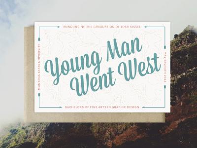 Graduation Annoucement go west montana state university 4x6 graduation announcement postcard