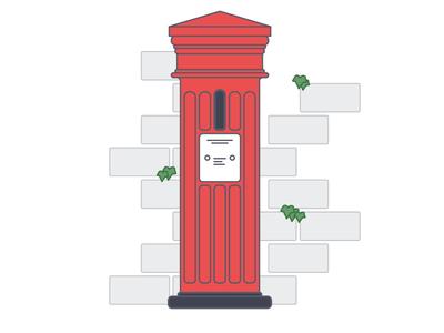 Victorian Mailbox brick ivy youve got mail red simple british icon mailbox illustration