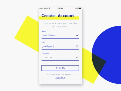 Sign Up Daily UI 001 sign up mono ui signup blue 001 dailyui