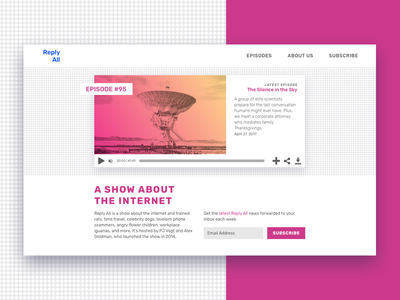 Landing Page (above the fold) reply all above the fold landing page subscribe podcast landing ui duotone gradient pink 003 dailyui