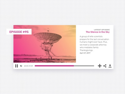 Podcast Music Player gradient pink player podcast music website ui 009 dailyui