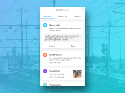 Direct Message List 013 direct message chat ui mobile gradient reply message dailyui