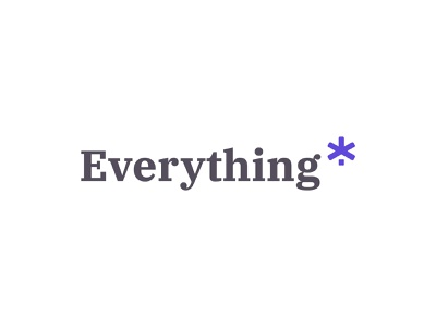 Everything* - Brand Concept type startup negative space identity purple concept asterisk design icon typography branding vector logo