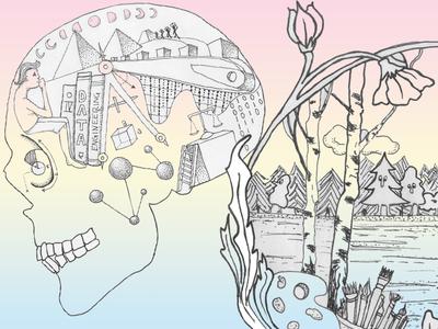 Right Side / Left Side skull pen illustration brain