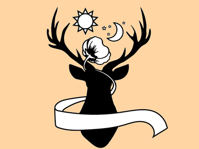 Witch Deer ribbon banner sun moon poppy stag logo