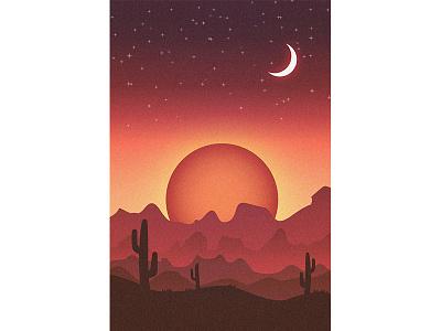 Desert moon cactus sunset desert study