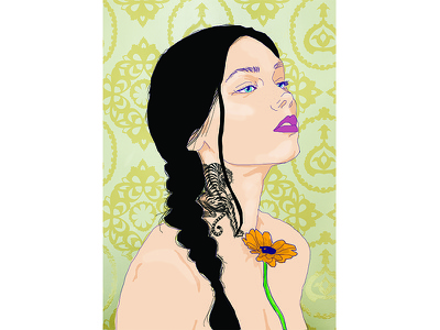 Flwrgrl portrait tattoo illustration vector woman