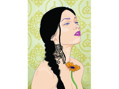 Flwrgrl portrait tattoo illustration vector woman
