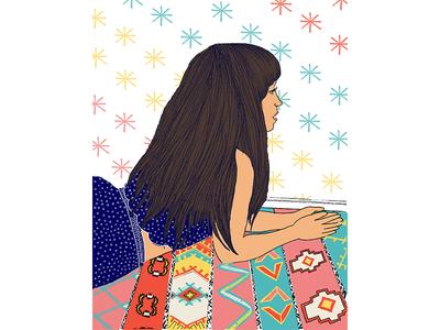 Magic Carpet portrait hair pattern stars girl