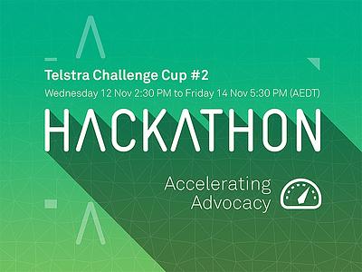 Hackathon Poster hackathon advocacy poster long shadow polygon tech