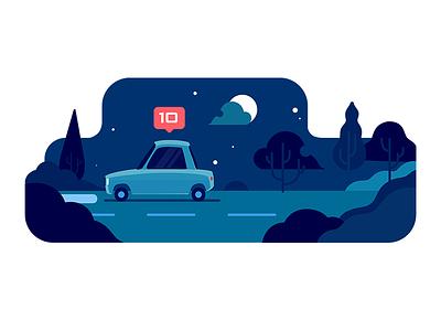 TAP30 illustration transport car iran blue snapp lyft taxi app taxi uber night paykan tap30 illustraion