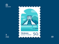 Iran Gate Stamp 01 Tehran design persian flat stamp blues illustraion azadi tehran iran