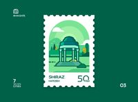 Iran Gate Stamp 03 Shiraz persian flat hafezieh hafez shiraz iran illustration green