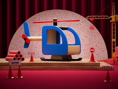 Toy Plane. still illustrator photoshop design c4d redshift render colorful color tiny artwork art cinema4d wood wooden toys airplane toy animation 3d