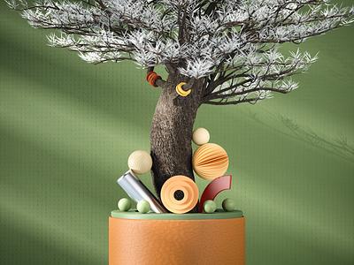 3D Design - 03 adobe shapes abstract mood tree compositing photoshop render redshift graphic design animation ui illustration composition artwork aftereffects design cinema4d art 3d