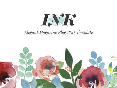 INK - Elegant Magazine Blog PSD Template pastel color storytelling lifestyle food travel personal blog magazine psd template elegant