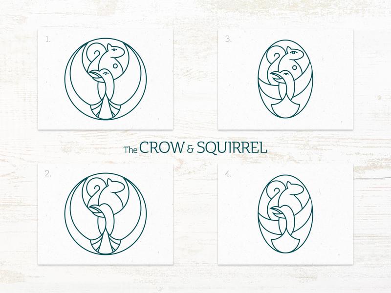 The Crow & Squirrel Pub - Logo Iterations design illustration food branding squirrel crow vector pub bar restaraunt brand logo