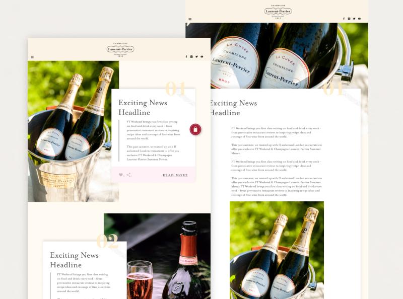 Laurent Perrier Concept design digital design adobe photoshop logo graphic design web design branding desktop website blog ui ux concept website design
