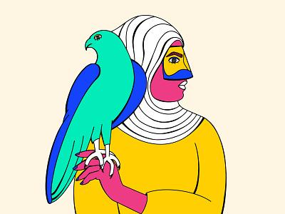 Falcon Girl falconry arabicart arabic portrait arabculture arab falcon concept graphic art abstract design illustration shrutillusion