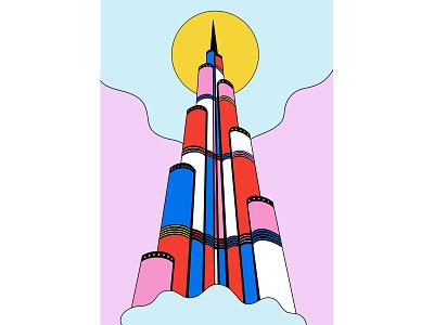 Burj Khalifa skyscraper building arabicculture arabic arab tallestbuilding tallest uae burjkhalifa concept art abstract illustration design graphic shrutillusion