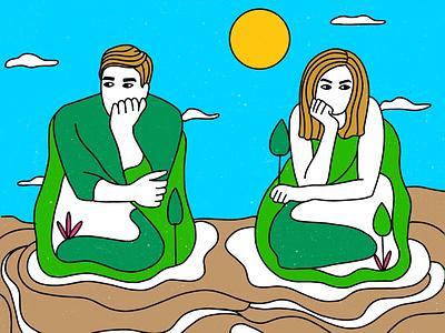 Partners Island - Concept Illustration metaphor intimacy relationship insight island couples concept art illustration design graphic shrutillusion
