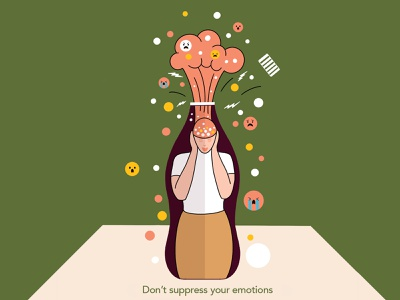 Don't Suppress Your Emotions conflict frustration couples relationship suppress bottled emotions art abstract design illustration graphic shrutillusion