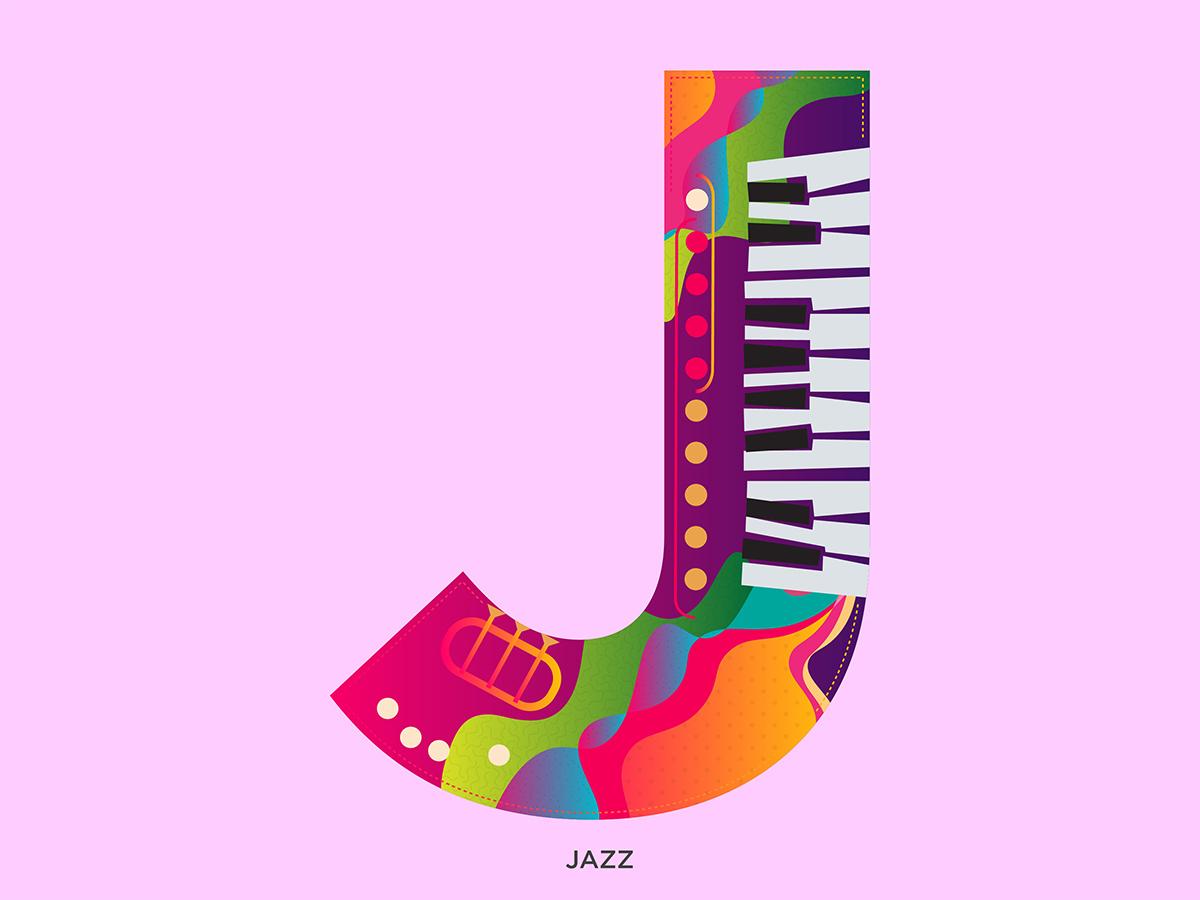 J - Jazz 36daysoftype-j music logo alphabets vector type typography illustration abstract graphic shrutillusion design jazz