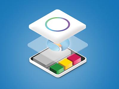 Isometric App  gradient safedk lights sdk blue sphere inkod ios icon icon layers app isometric