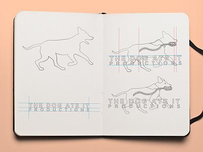 The Dog Ate It Productions Logo gotham film reel canine running dog logo