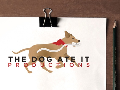 The Dog Ate It Productions - Logo dog walk canine production film reel running dog dog ate it