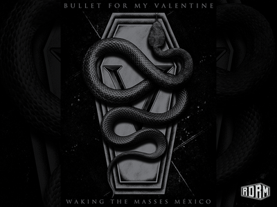 Waking The Masses bullet for my valentine bmfv casket snake design dark art distressed textures band merch