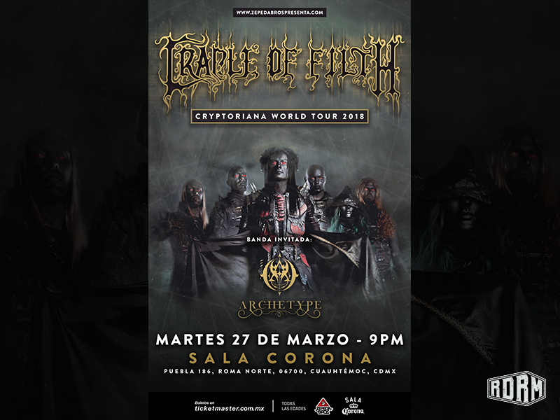 Cradle of Filth Show Poster geometric shape black metal gold gig poster music artwork rock metal design dark art distressed textures