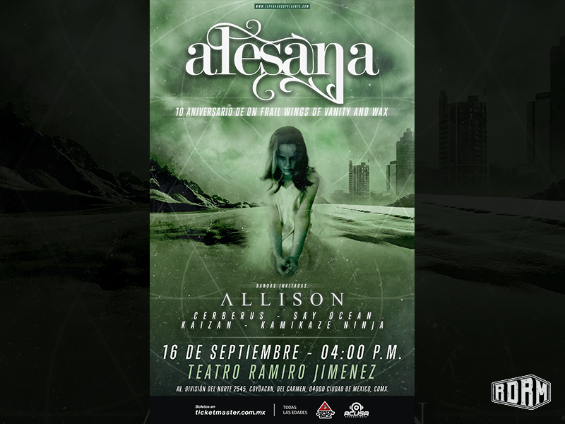 Alesana Show Poster clouds girl green music artwork gig poster emo alesana logo design dark art distressed textures