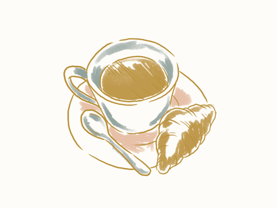 morning morning croissant coffee doodle brunch breakfast