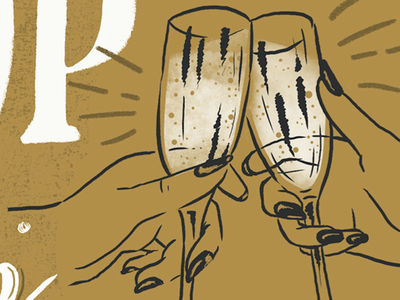 Cheers new years new year illustration clink fizz champagne