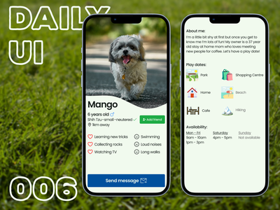 Daily UI #006 - User profile iphone 12 iphone app iphone mobile app mobile dog puppy profile day 006 day 6 6 006 user profile user app design dailyui uxui ux ui