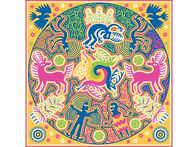 Creation Of Peyote And Corn mexican symbolism animals ethnic art grasshopper hill design vector illustration huichol folklore digital design art
