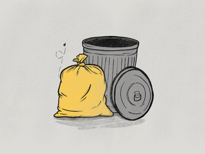 Golden Trash illustration doodle podcast lid trashcan can smell waste fly