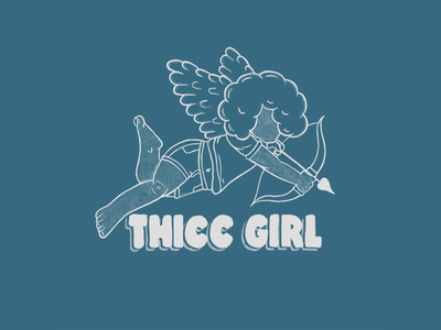 Thicc Cherub illustration doodle arrow bow cupid wings angel black girl joy blackgirl black girl black cherub thickness thicc thick