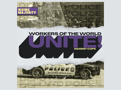 Rising Majority - May Day scissorfiesta majority abolition yellow easter easter yellow purple grunge design invest in workers workers in invest police defund