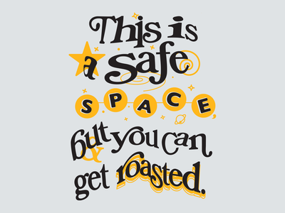 SAFE SPACE Long Sleeve black gold ampersand stars space typography tee longsleeve twitter roasted cream