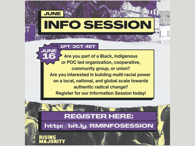 Rising Majority - June Info Session youth feminists climate change black immigrant rights abolition branding graphic design scissorfiesta
